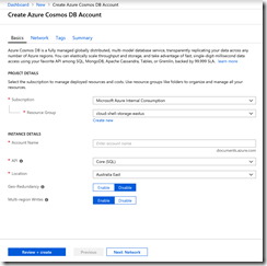 CDB03-CreateAzureCosmosDbAccount